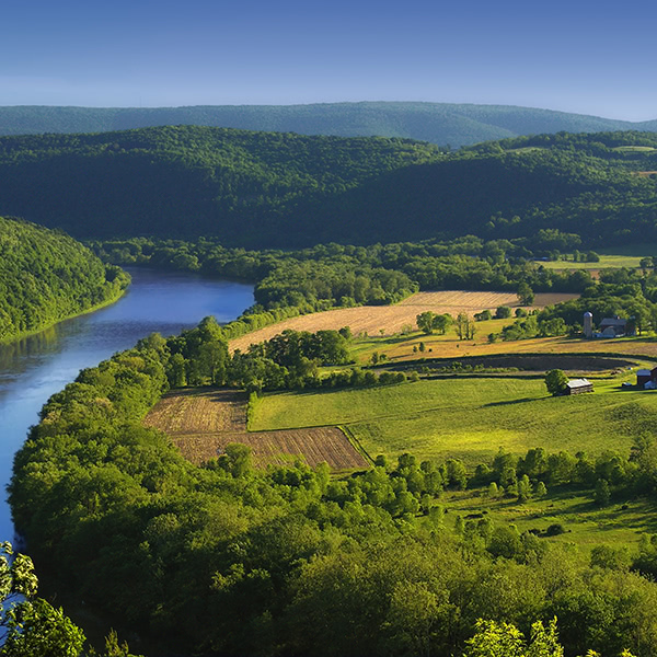 An ariel view of the Susquehanna River