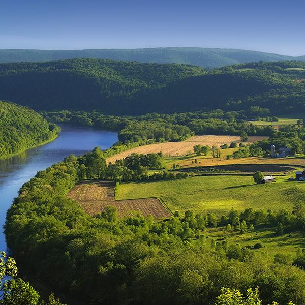 An ariel view of the Susquehanna River